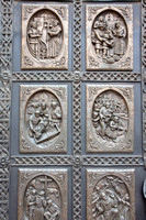Detail on doors of St. Francis Cathedral